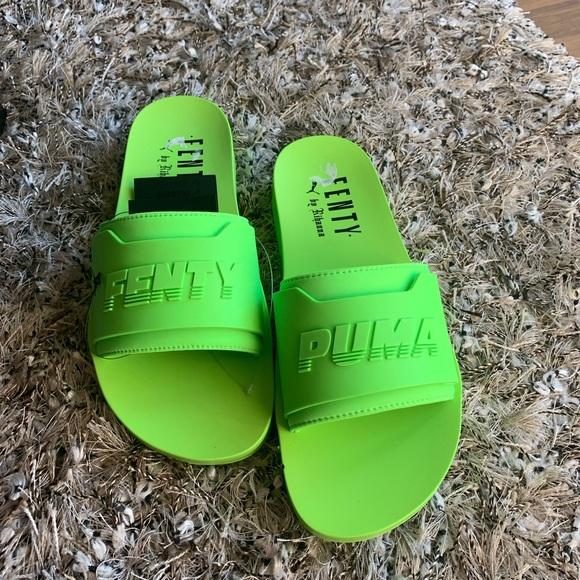 New Puma Fenty Rihanna Neon Green Slide